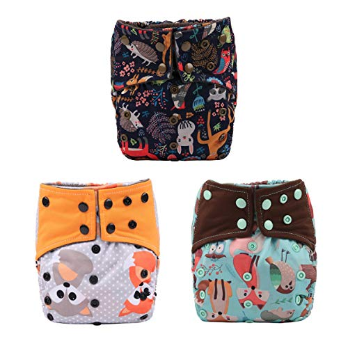 AIll in One Night AIO Cloth Diaper Nappy Sewn in Insert Reusable Washable (Animal Pack)