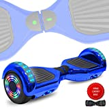 DOC Electric Smart Self-Balancing Hoverboard with Built in Speaker LED Lights Wheels Certified Hoverboard for Kids and Adults (Chrome Blue)