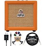 Orange Amps Crush Mini 3W Guitar Combo Amplifier Bundle with Blucoil Slim 9V Power Supply AC Adapter, 10' Straight Instrument Cable (1/4'), 2-Pack of Pedal Patch Cables, and 4x Guitar Picks