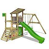 FATMOOSE Portique bois FruityForest Fun XXL Aire de jeux sur 3 niveaux le cabanon de plage fruité avec toit incliné en bois, portique de balançoire avec deux sièges, toboggan vert pomme