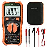 Crenova Digital Multimeter TRMS Multi Testers, Auto-Ranging Volt Meter, 6000 Counts Ohmmeter, Measures Capacitance Diodes Continuity Resistance Transistor hFE Temp with Probes, for Home, Automotive