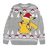 Pokemon Pikachu Chapeau de Père Noël de Noël Pull en Maille pour Hommes Gris M | Idée de Noël Jumper Laid Pull Isle Gift Fair