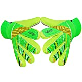 Jalunth Goalkeeper Goalie Soccer Gloves - Kids & Youth Football Goal Keeper Gloves with Embossed Anti-Slip Latex Palm and Soft PU Hand Back (Green, 6)