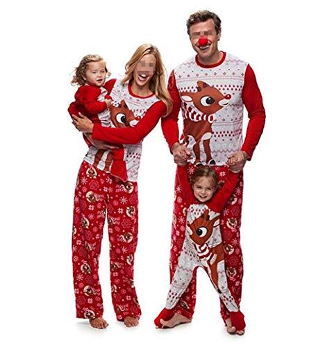 Pijamas Dos Piezas Familiares de Navidad, Conjuntos Navideños de Algodón para Mujeres Hombres Niño Bebé, Ropa para Dormir Otoño Invierno Sudadera Chándal Suéter de Navidad-Bebé