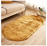 Soft Faux Sheepskin Fur Rug, Oval Small Sized Floor Area Shag Sofa Cover,Bedside Kitchen Living Room Nursery Mat Gold 23'x35'