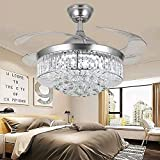 YUYUE 42-inch Invisible Ceiling Fan Chandelier with Light,Modern Crystal Ceiling Fan Light Remote Control 4 Retractable ABS Blades for Living Room Bedroom Dining Room Home Decoration