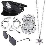 Beelittle Polizei Kostüm Zubehör Polizei Hut Handschellen Polizist Abzeichen Police Officer Dress Up Kostüm Zubehör für Cop Swat FBI Kostüm Party Halloween Rollenspiel (D)