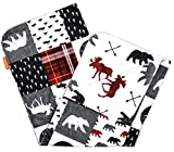 Dear Baby Gear Deluxe Baby Blankets, Custom Minky Print Double Layer, Northwood Adventure Faux Quilt and Moose with Bears, 38 Inches by 29 Inches