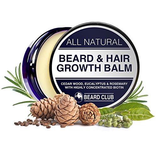 Balsamo per Favorire la Crescita di Barba e Capelli | Con Biotina Altamente Concentrata | Al Profumo di Legno di Cedro, Eucalipto e Rosmarino | La Soluzione Definitiva alla Tua Barba a Chiazze