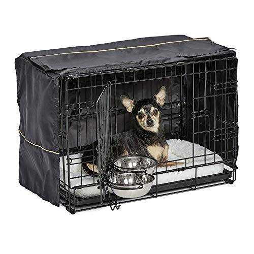 iCrate Dog Crate Starter Kit   22-Inch Dog Crate Kit Ideal for XS Dog Breeds (weighing up to 12 Pounds)    Includes Dog Crate, Pet Bed, 2 Dog Bowls & Dog Crate Cover