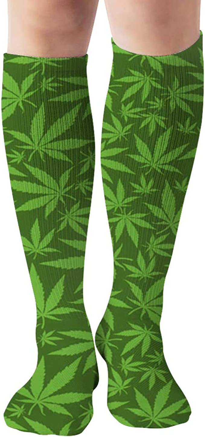 Amazon.com: Cannabis Leaves On Green The Arts Weed Compression Socks Women & Men, Best Athletic & Medical Running Flight Travel Pregnant 19.68 Inch : Sports & Outdoors
