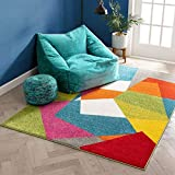 Art Deco Geos Multi Cubes Yellow Orange Blue Modern Abstract Shapes Colorful 3x5 (3'3' x 5' ) Area Rug Easy Clean Stain Fade Resistant Contemporary Art Boxes Square Geometric Thick Soft Plush