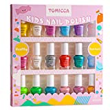 TOMICCA Kids Nail Polish Set Rainbow Candy Colors Non-Toxic Washable Super Sparkly Odorless Peel Off Natural Safe Nail Polish Set Quick Dry Nail Polish Gifts Toys Kit for Girls Kids