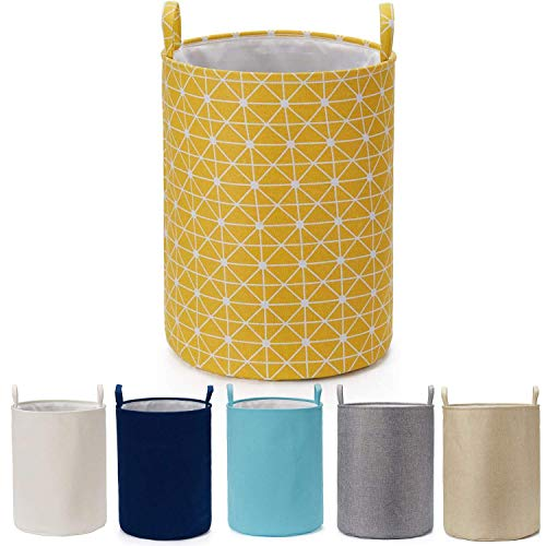 Every Deco ED Round Cylinder Wire Metal Frame Dual Fabric Laundry Basket Hamper Bin Storage Collapsible Fold-able...