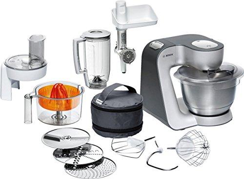 Bosch MUM5 MUM56340 Styline Küchenmaschine (900 W, 3 Rührwerkzeuge Edelstahl, spülmaschinenfest, 3,9 Liter, Teigmenge 2kg, Durchlaufschnitzler 3 Scheiben, Mixaufsatz, Zitruspresse, Fleischwolf) grau