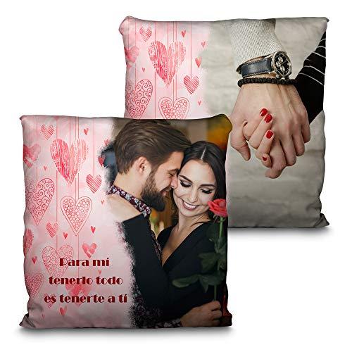Lolapix Cojín San Valentín. Personalizado con tu Foto. Tamaño 35cm. Varios diseños. Regalo para Enamorados único, Original y Exclusivo. Corazones