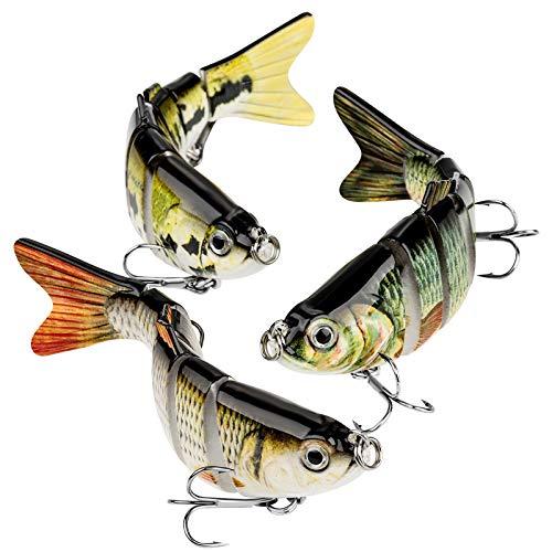 CharmYee Bass Fishing Lure Topwater Bass Lures Fishing Lures Multi Jointed Swimbait Lifelike Hard...