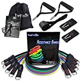 TheFitLife Exercise Resistance Bands with Handles - 5 Fitness Workout Bands Stackable up to 110 lbs, Training Tubes with Large Handles, Ankle Straps, Door Anchor Attachment, Carry Bag