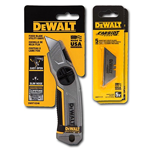 DeWalt Fixed Blade Utility Knife with 15 Blades - For Drywall, Construction, Crafts, Industrial
