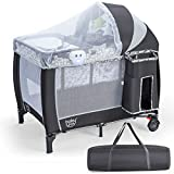 BABY JOY 4 in 1 Pack and Play with Adjustable Net, Portable Nursery Center Playard with Bassinet, Detachable Changing Table, Foldable Infant Baby Play Yard with Music Player, Carrying Bag (Grey)