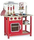 Leomark Cucina Classic rosso giocattolo in legno Cucina accessoriata per bambini Educazione Tavola Divertimento Accessori Da Cucina