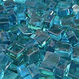Teal Lagoon - Fire Glass Cubes for Indoor and Outdoor Fire Pits or Fireplaces | 10 Pounds | 1/2 Inch
