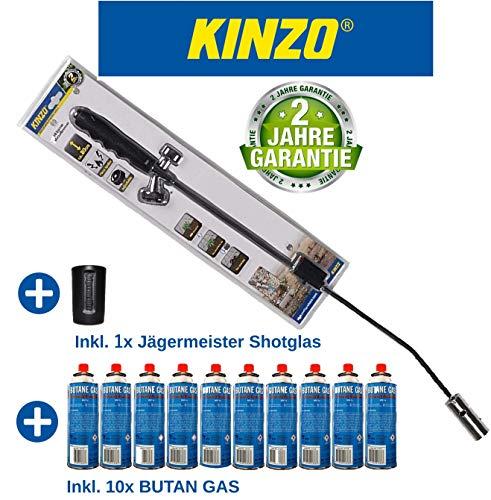 Kinzo K0318 Unkrautbrenner Unkrautvernichter 80cm, inkl 10 Butangaskartuschen je 227g, Gasbrenner mit Piezozündung, Abflammgerät max 1000 °C, Brenner Flamme regulierbar,ideal als Grillanzünder, Shisha