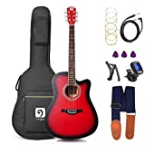 Guitar Acoustic Electric, Acoustic Guitar Cutaway 41 Inch Full Size Folk Guitar Beginner Kit, Red, by Vangoa