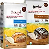 Jovial Einkorn Baking Flour Variety Pack | 100% Organic Einkorn All Purpose Flour & 100% Organic Whole Wheat Einkorn Flour | High Protein | USDA Certified Organic | Product of Italy | 32 oz (2 Pack)