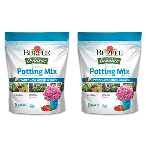 Burpee Organic Premium Potting Mix, 8 Quart, 2 Pack