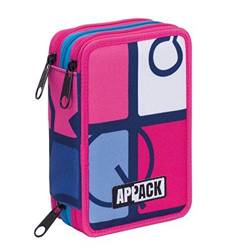 Astuccio 3 Zip Appack, Icon Set, Blu Rosa, Con materiale scolastico: 18 pennarelli e 18 pastelli...