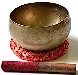 BUDDHAFIGUREN/Billy Held Tibetische Klangschale Khobre Juego de Cuencos tibetanos con Accesorios, Metal, Dorado, 550-600g, 3 Unidades