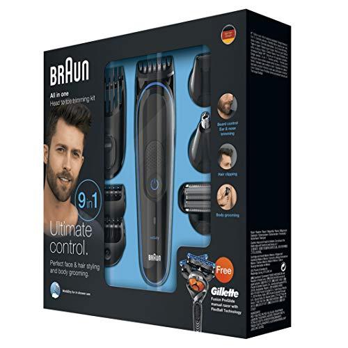 Braun MultiGrooming Kit MGK3080 Rifinitore di Precisione Regolabarba 9 in 1 per lo Styling di Barba, Corpo e Capelli con Rasoio Gillette Fusion ProGlide in Dotazione, Nero/Blu, batteria