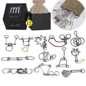 Holzsammlung Rompecabezas Metal, 12 Piezas 3D Puzzles Educativos Habilidad Y Logica Alambre de Metal de Rompecabezas…