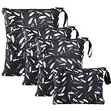 WD&CD Wetbag Windeltasche, 4 Stück Wetbag Stoffwindeln, Wiederverwendbare Wetbag Nasstaschen mit Reißverschluss für Kleinkind Windeln Reisen Gym Strand Pool