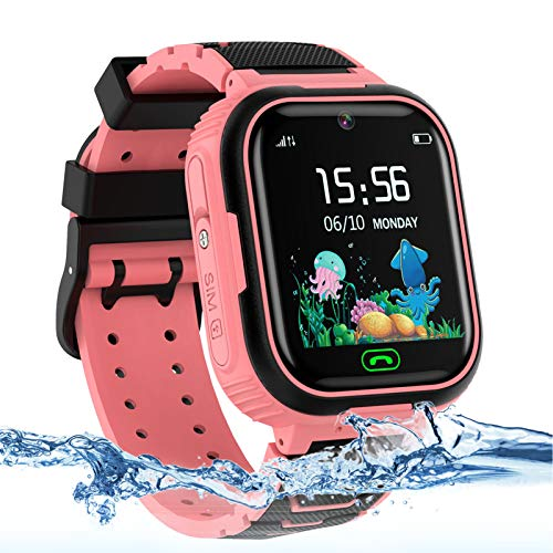 Kids Smart Watch Phone, LBS/GPS Tracker Waterproof Smartwatch for Boys Girls Children SOS Touch Screen Camera Two-Way Call for 3-12 Years Old (Pink)