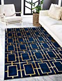 Unique Loom Marilyn Monroe Glam Collection Textured Geometric Trellis Area Rug_MMG001, 8 x 10 Feet, Navy Blue/Gold