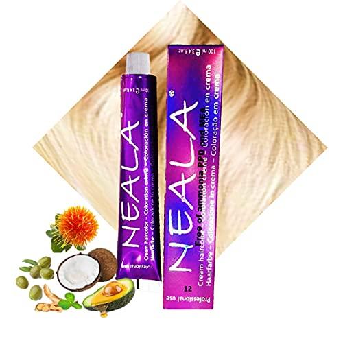 N-12 - Tinte Profesional Permanente Vegano SIN AMONIACO, libre de PPD Y MEA Gran brillo y cobertura - 12- Superaclarante Natural - NEALA 100ml.