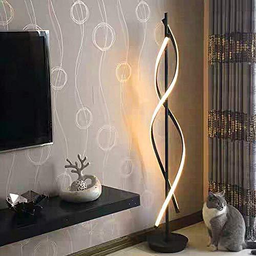 Lampadaire LED Blanc Chaud Spirale Moderne Unique Design 30W Réglable Éclairage Intérieur Lampe de Salon/Lumière de la Chambre AC 220V (Noir)
