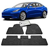 Maxats Tesla Model 3 All Weather Floor Mats with Free Screen Protector 2017-2020 - Anti-Slip Genuine Heavy Duty Rubber (4 Pack Front & Rear) Non-Odor Accessories