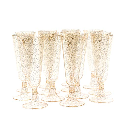 Matana 100 Flute da Champagne in Plastica Trasparente con Glitter Dorati - 150ml