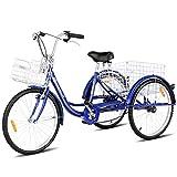 Goplus Adult Tricycle Trike Cruise Bike Three-Wheeled Bicycle with Large Size Basket for Recreation, Shopping, Exercise Men's Women's Bike (Navy, 24' Wheel)