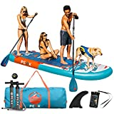 Peak Titan Inflatable Stand Up Paddle Board — Multi-Person SUP with 500 lbs Capacity and iSUP Accessory Bag with 2 Paddles, Pump & More — 12' Long x 45' Wide x 8' Thick
