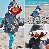 Auwer Unisex Baby Autumn Winter Shark Hooded Sweatshirt Children's Hoodies with Kangaroo Muff Pockets& Shark Fin (Gray, 4T)