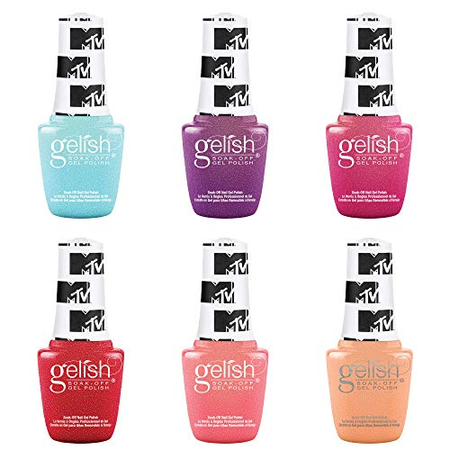 Gelish Summer MTV Switch On Color Collection 9 mL Soak Off Gel Nail Polish Set, 6 Color Pack w/Electric Remix, Ultimate Mixtape, Live Out Loud, Total Request Red, Show Up & Glow Up, and Super Fandom
