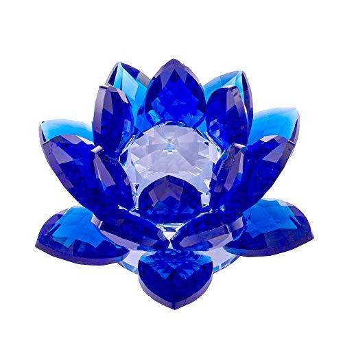 Amlong Crystal 3 Inch Sapphire Blue Crystal Lotus Flower...