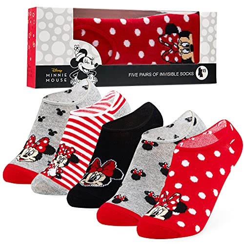 Disney Calzini Donna Fantasmini, 5 Paia Calze Donna Invisibili di Minnie, Gadget Originali (Grigio/Rosso)