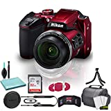 Nikon COOLPIX B500 Digital Camera (Red) (26508) USA Model + SanDisk 32GB Ultra Memory Card + Memory Card Wallet + Deluxe Soft Bag + 12 Inch Flexible Tripod + Deluxe Cleaning Set + USB Card Reader