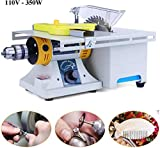 Jewelry Rock Polishing Buffer Machine 110V 350W Upgraded Rock Polisher Bench Buffer, Home Bench Polisher Grinder, Mini Table Saw Kit for Gem Metal Woodworking with Complete Accessories