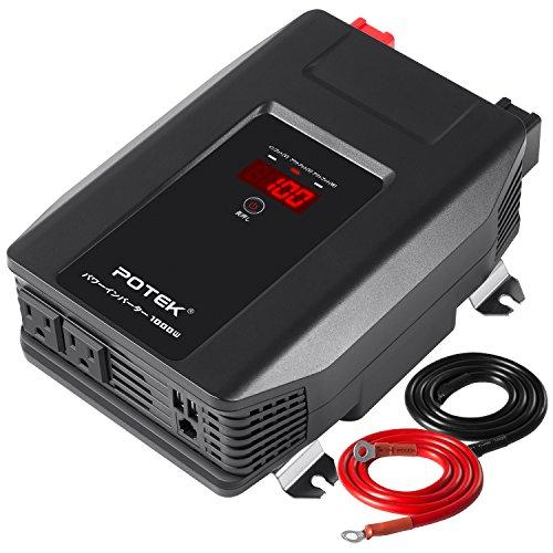 POTEK インバーター 1000W DC12VをAC100Vに変換 カーインバーター ACコンセント2口 USBポート 出力/入力電圧と消費電力可視 車載充電器 12V車対応